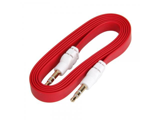 1M 3FT 3.5mm Flat Male to Male Audio Extension Cable for iPhone iPad iPod Red
