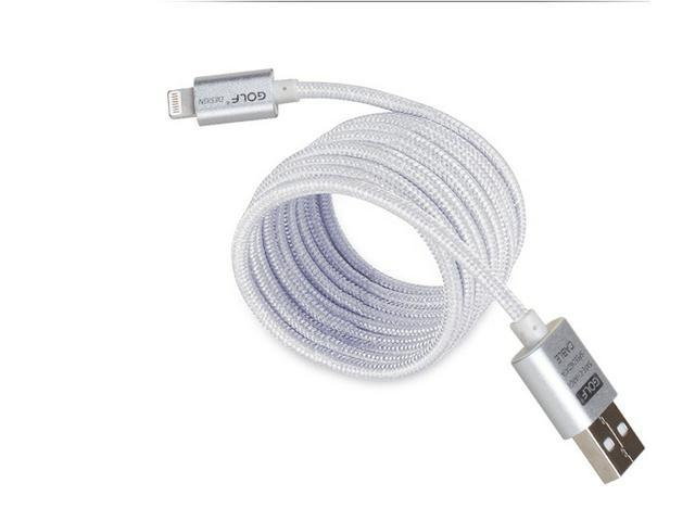 GOLF Gold Silver Metal Nylon 8-Pin Lightning to USB Cable 1M Sync Charger for iPhone 6 6Plus 5S 5 iPad Air Mini iPod Silver