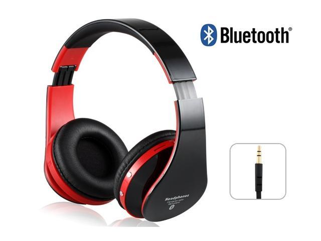 KG-5012 Multi-Function Stereo Sound Collapsible Wireless Bluetooth Headphones with Memory Card Support Red+Black