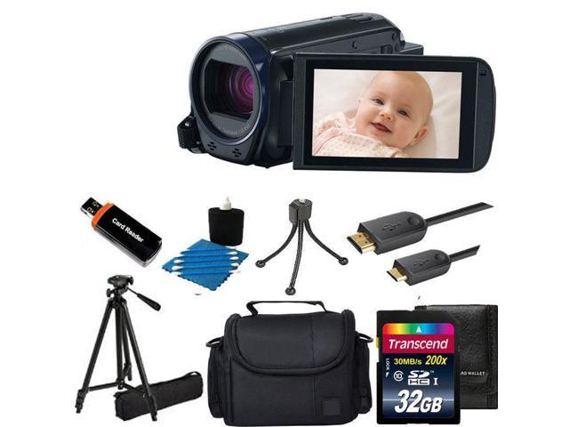 Canon VIXIA HF R600 Full HD CMOS Camcorder (Black) Tripod + 32GB Top Value Kit