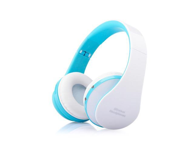 Foldable Wireless Stereo Bluetooth Headphone Earphone For iPhone Laptop Mobile@white+blue