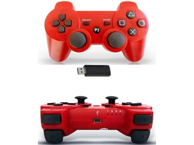 GAME PAD CONTROLLER FOR SONY PS3 DOUBLESHOCK WIRELESS ( RED ) IN BOX NEW