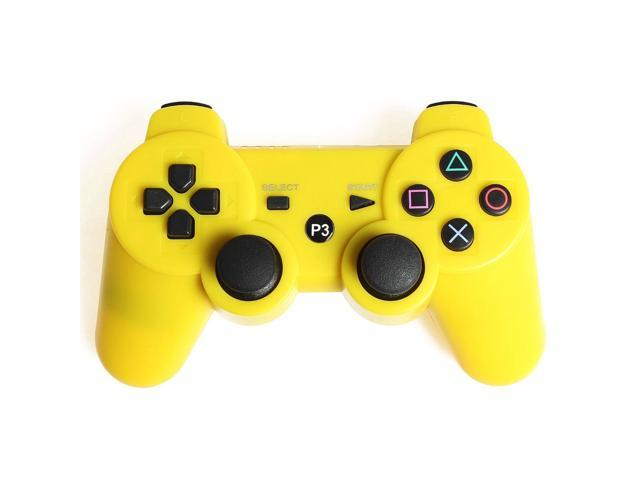 Yellow Wireless Bluetooth Double Vibration Game Gaming Controller For Sony PS3