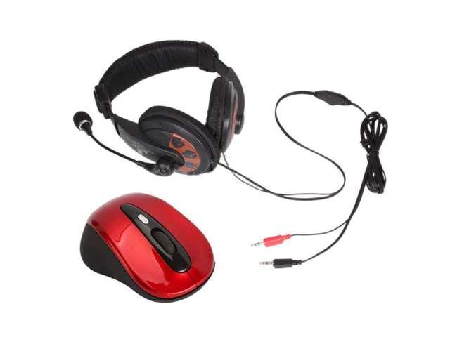 New SM-751 3.5mm Headphone Headset + 2.4G Wireless Mouse Red for PC Laptop