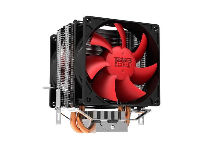 PC Cooler Red Ocean Mini Plus CPU Cooler - Dual 6mm Copper Heatpipe - Twin 80mm PWM Ultra Silent Fan with Shock-absorber - AMD ...