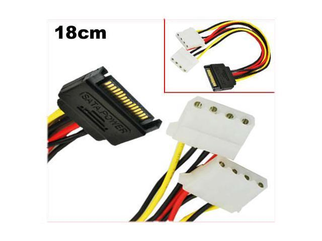 HQmade SATA (Male) to 2x Molex IDE 4-pin (Female) Power Adapter Cable - Serial ATA Power Connector to LP4 Y- Splitter Lead - OEM