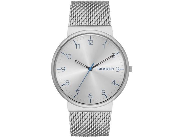 Skagen Men's 40mm Silver Steel Bracelet & Case Mineral Glass Watch SKW6163
