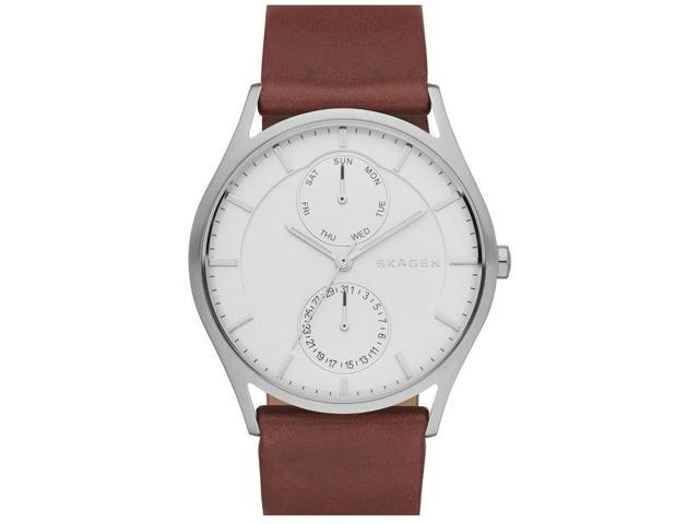Skagen Men's 40mm Chronograph Brown Calfskin Stainless Steel Case Watch SKW6176