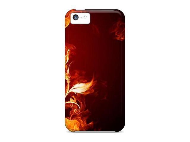 [cir392bJkA] - New Flames Flowers Fire Smoke Black Background Protective Iphone 5c Classic Hardshell Case