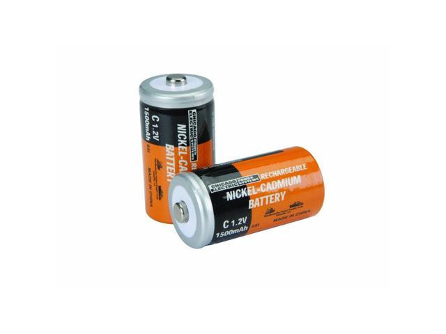 2 Piece C NiCd Rechargeable Batteries