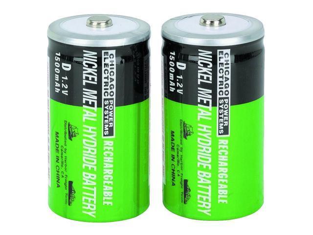 2 Piece D NiMH Rechargeable Batteries