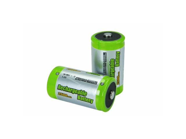 2 Piece D High Capacity NiMH Rechargeable Batteries by USATNM