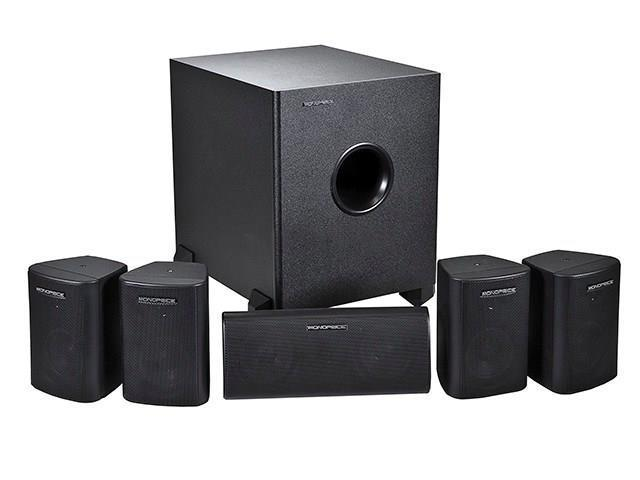 Mono 5.1 Channel Home Theater Satellite Speakers & Subwoofer - Black