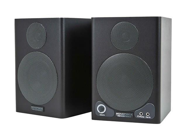 Mono 3-inch Powered Portable Monitor Speakers with Protective Grill (pair)