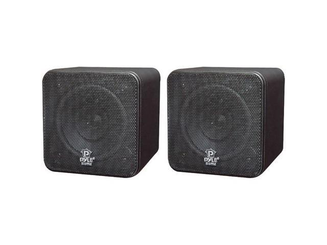 "4"", 200-Watt Mini-Cube Bookshelf Speakers (Black) By: PYLE HOME"