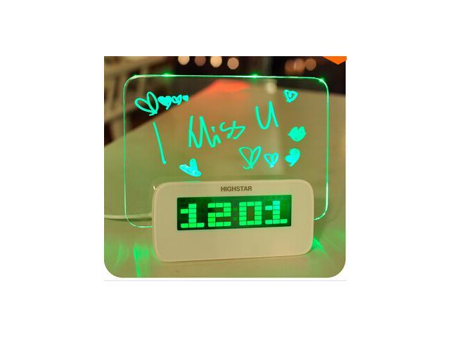 Blue/Green Led alarm clock with Message Board Calendar thermometer lazybones Alarm Clock