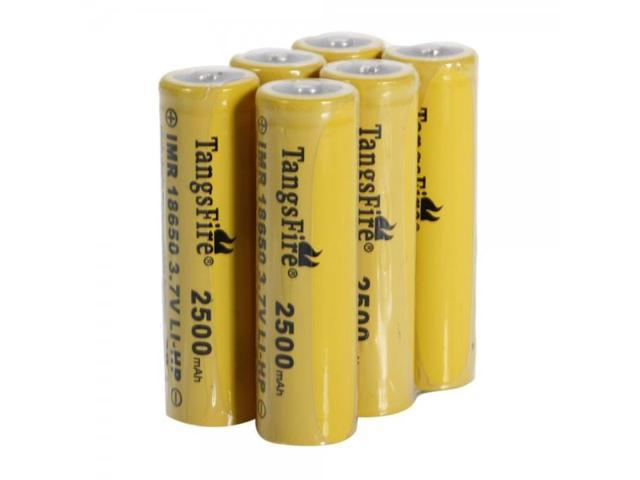 6pcs TangsFire 18650 3.7V 20C 2500mAh High-power Rechargeable Lithium Batteries Yellow