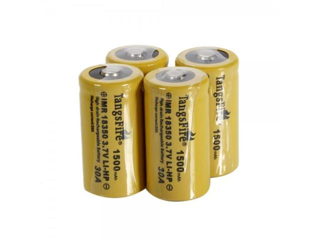 4pcs TangsFire 18350 3.7V 20C 1500mAh High-power Rechargeable Lithium Batteries Yellow