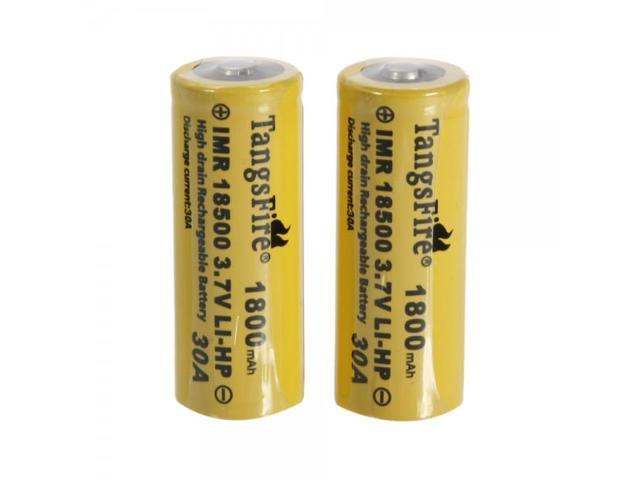 2pcs TangsFire 18500 3.7V 20C 1800mAh High-power Rechargeable Lithium Batteries Yellow