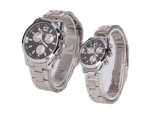 A Pair of Stainless Steel Black Round Dial Wrist Couple Watches for Eyki S9351GL