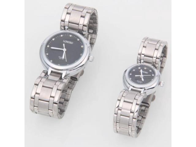 Longbo Steel Band Rhinestones Numbers Display Quartz Couple Wrist Watches Black