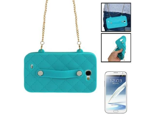 Lady Dual-use Bag Style Plaid Texture Silicon Case with Hand Strap for Samsung Galaxy Note 2 / N7100 (Green)