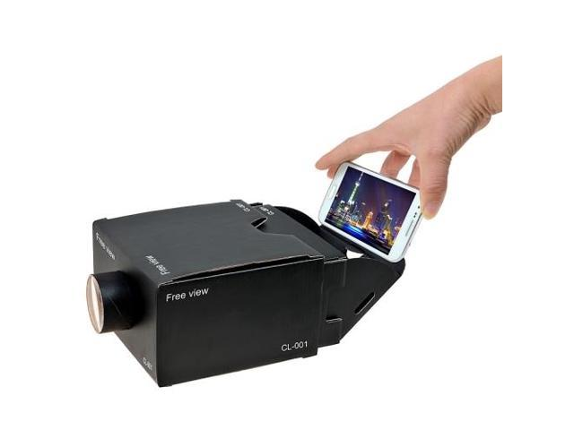 Free View DIY Portable Cardboard + Ordinary Optical Glass Lens Phone Projector (Black)