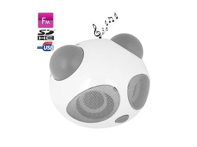 Panda Style Mini Stereo Speaker, Built-in Rechargeable Battery, Work with iPod / Notebook / MP3 (Gray)