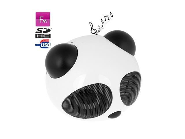 Panda Style Mini Stereo Speaker, Built-in Rechargeable Battery, Work with iPod / Notebook / MP3 (Black)