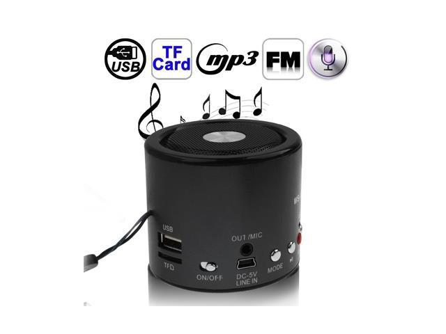 Portable Speaker, Support FM Radio / TF Card & U Disk Reader / Recording, Built in Rechargeable Battery (Black)