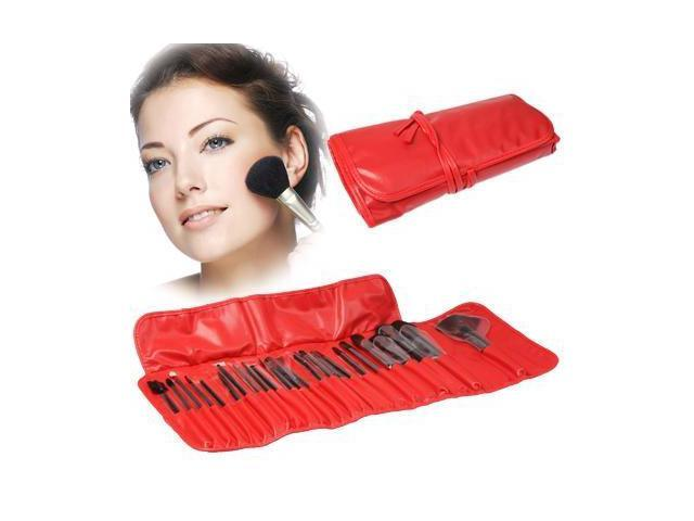 Professional 24pcs Makeup Brush Set Beauty Kit Cosmetic + PU Leather Carrying Case (Red)