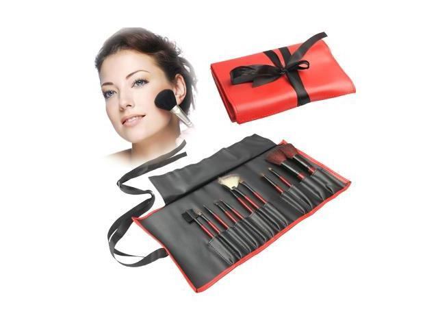 Professional 12pcs Makeup Brush Set Beauty Kit Cosmetic + PU Leather Carrying Case (Red)