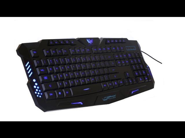 M200 New Design Wired Blue Color Backlighting Backlit Gaming Keyboard Black