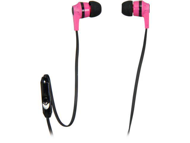 Skullcandy Pink/Black S2IKDY-133 3.5mm Connector Ink'd 2.0 Earbud Headphones with Mic, Pink/ Black
