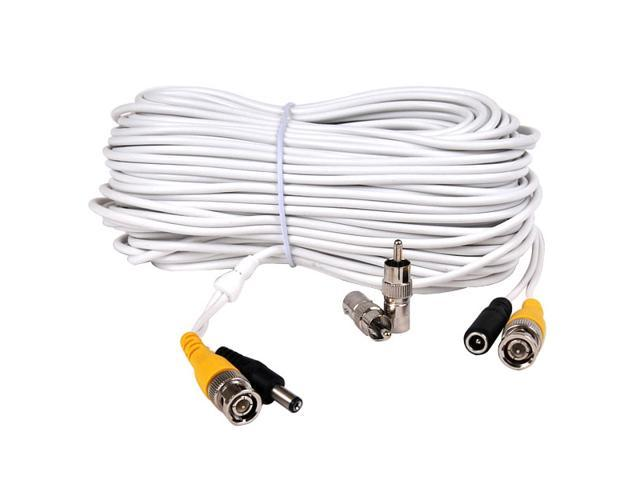 VideoSecu 100ft Video Power Security Camera Extension Cable Wire Cord Free BNC RCA Adapter Connectors for Surveillance DVR System WD2