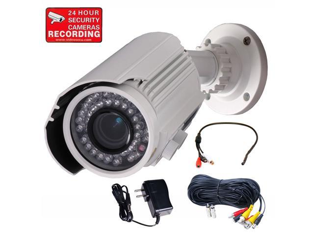 VideoSecu IR Day Night Vision Outdoor Weatherproof Security Camera Built-in 1/3 inch Sony CCD Effio 700TVL 4 - 9mm Varifocal 42 LEDs with Power ...