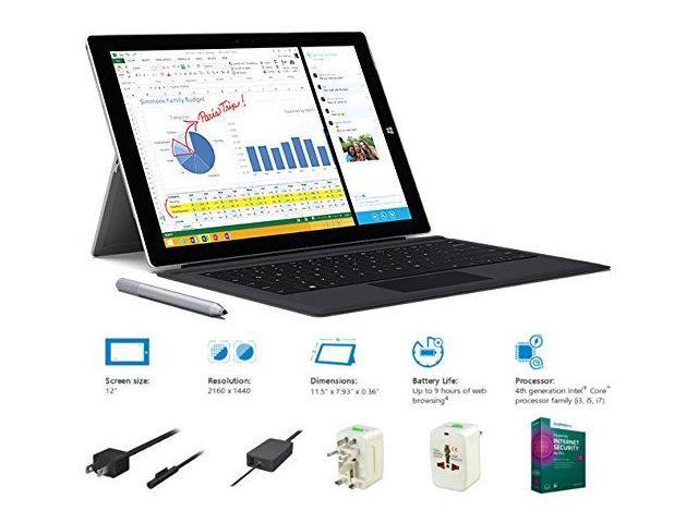 2014 Newest Microsoft Surface Pro 3 FYX Bundle Intel Core i7-4650U 8G 256GB 12