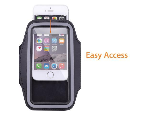 Sports Armband for iPhone 6 Plus, Samsung Galaxy Note 4 / 3 / 2, Droid Turbo and LG G3 - Key holder Slot(Black)