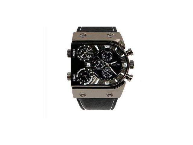 2015 new fashion Quartz Wrist Watch 3 Time Zone Top Brand Big Dial Leather Strap Sports Watches
