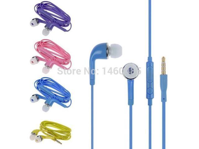 3.5mm Flat Stereo Headset Headphone Earphone for Samsung Galaxy S2 S3 S4 S5 Note 2 3 4 N7100 with Volume Control Mic Free Ship