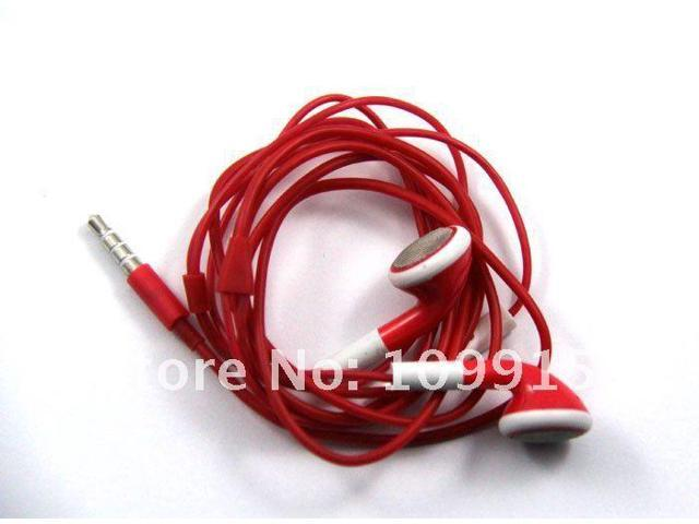 Earphone Headphone with Mic Volume Control for Iphone 4G 3GS Ipod red
