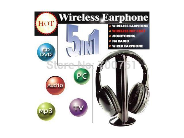 2 pcs/lot 5 In 1 FM Hi Fi Wireless Headsets Wirless Monitor Headphones With Microphone For MP3 PC TV Audio CD