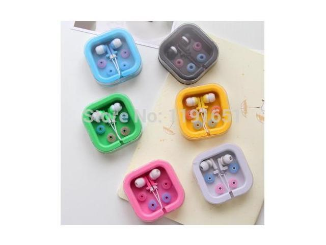 10box/lot Fashion candy color box earphone headset Noise cancelling headphone for mp3 mp4 phone computers