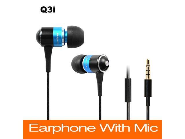 Top Quality Brand Awei Q3i Deep Bass Earphones With Mic Speaker For IPhone/Android/mp3/mp4 Metal Flat Cablee In Ear Headphone