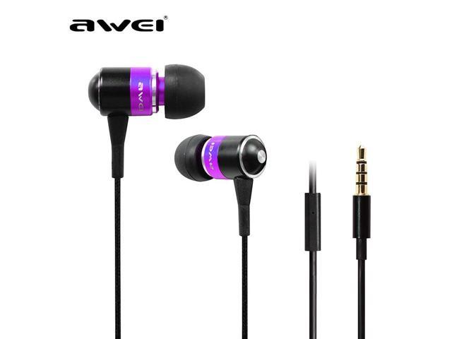 Awei ES Q3I metal ear headphones, stereo bass phones, music headset with microphone is compatible with all mobile phones and MP3