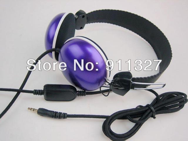 2pcs/lot headphones with mic and volume control headphones studio purple headphones