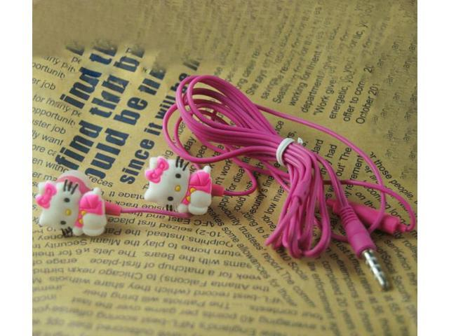 Lovely Cartoon Hello Kitty Headphone 3.5mm In Ear Earphone With Microphone Gift Headset With Retail Packaging