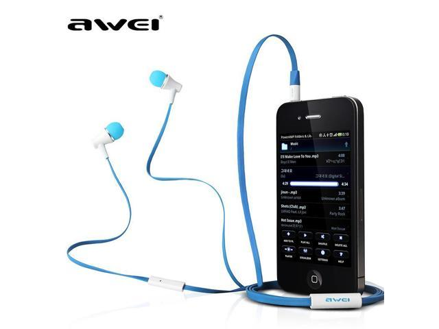 hot ! Original Awei ES300i Headset headphones Flat cable mic earphone for IPhone/IPOD/Android,