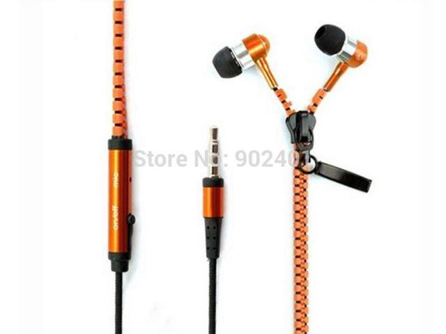 High Quality 3.5mm Stereo Bass Zipper Earphones Headphones with Mic
