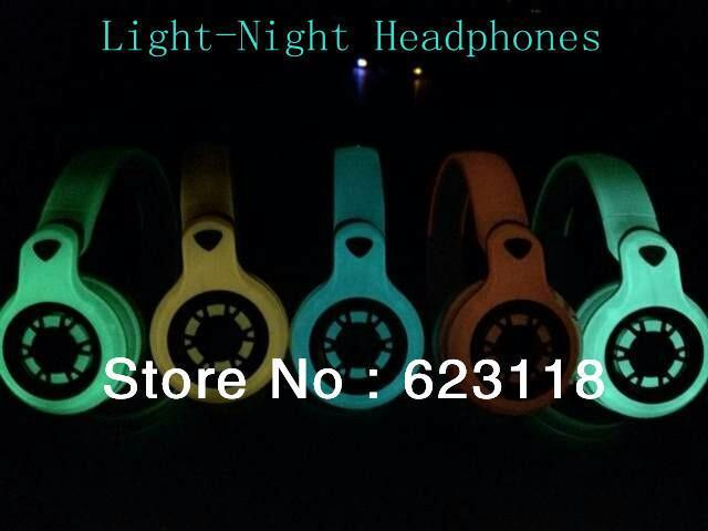 1PCS IRON MAN Newest earphone Light Night Headphones for iphone / ipod * earphone with one wire retail box